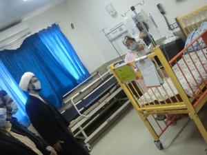 بازدید حضرت حجتالاسلاموالمسلمین عزیزی از بخش آنکولوژی